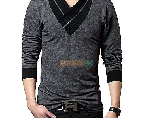 Pack of 2 Stylish Multicolor Cotton V-Neck Button T-Shirts