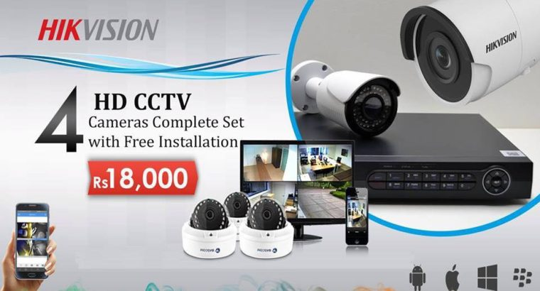 4 Branded CCTV Cameras Offer in Just Rs 18,000.1 Year Replacement warranty.Free Installation