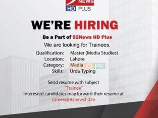 92news channel hiring
