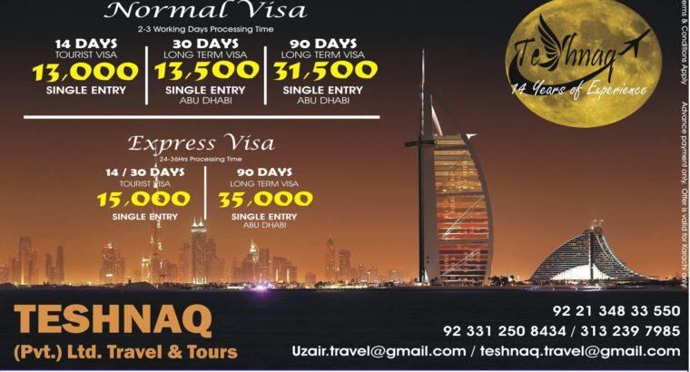 DUBAI VISA 13000/14D & 30 D 31500/90D Umrah @ 85000/15D Umrah visa only 11500/- with 1Nt Stay