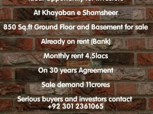 Ideal Opportunity For Investor At Khayaban e Shumsheer 850 sq.ft Ground Floor And Bassment For Sale.Already On Rent