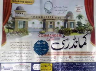 Commander City.80,120 yard Residential 100 Yards Commercial Plots Near to Karachi Toll plaza