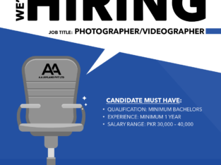 We are hiring Photographer/ Videographer.Apply Now