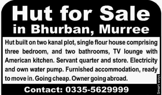Hut For Sale In Bhurban Murree.Ready To Move