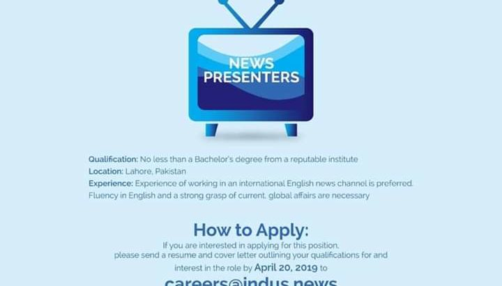 JOBS | Indus News Channel English.Apply Now