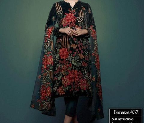 Bareeze Lawn with Bamber Emb Dupatta.Delivery All Pakistan