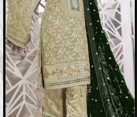Primium Quality.3pc Lawn with Bamber chiffon Embroidery.Delivery All Pakistan