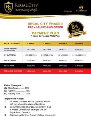 Regal City.5/7/10 Marla & 1 Kanal Residential.2/4/8/ Commercial Plots
