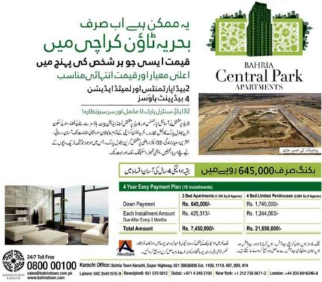 2 Bed Apartments & 4 Bed Penthouses.Bahria Central Park Apartments Karachi