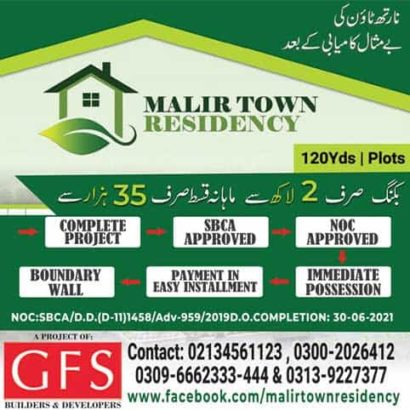 120 yds Plots in Malir Town Residency.Fori Possession Payment Asaan iqsaat me