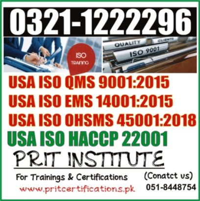 USA ISO QMS 9001:2015 COURSE IN ISLAMABAD