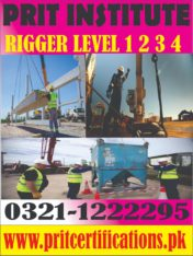 Diploma of rigger level 1-2-3-4 in Pakistan