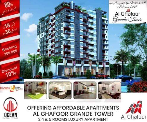 Luxury Apartment in Gulshan e Maymar. Al Ghafoor Grande Tower