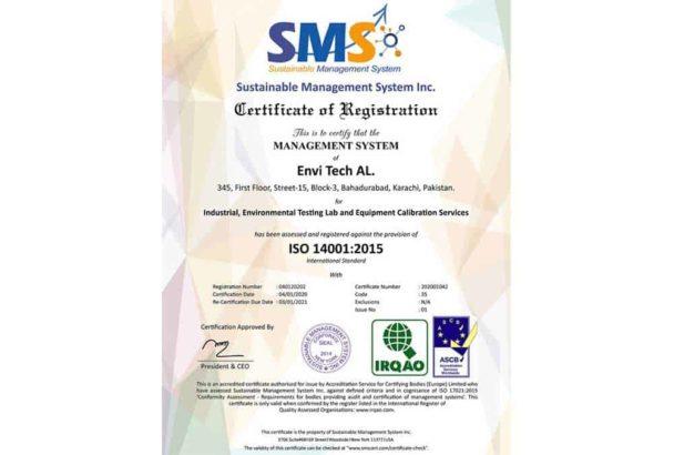 Envi Tech AL receives Certificate of ISO 14001:2015