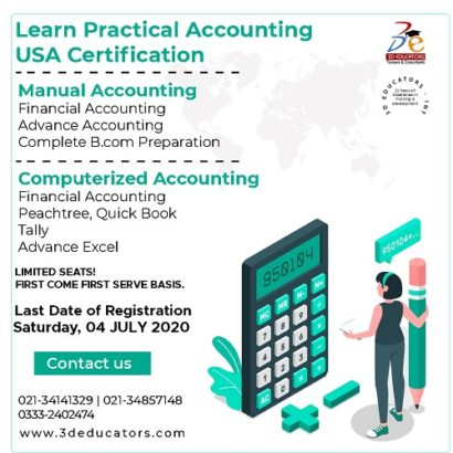 Manual And Computerize Accounting Course With USA Certification – 3D Educators