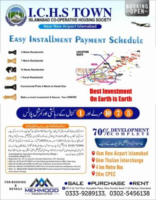 Residential plots.Ichs Town Islamabad.Easy Installments