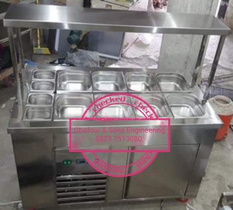 Open salad bar.Restaurant Equipment