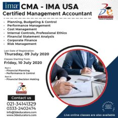 CMA – IMA USA Certified Management Accountant Program With USA Certification