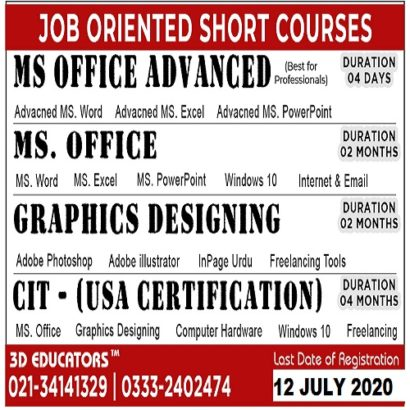 JOB ORIENTED SHORT COURSES IN KARACHI – 3D Educators