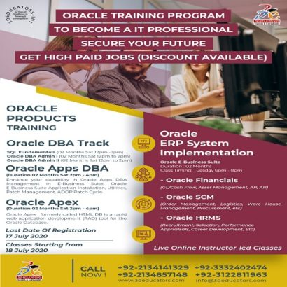 ORACLE TRAINING PROGRAM TO BECOME A IT PROFESSIONAL – 3D EDUCATORS