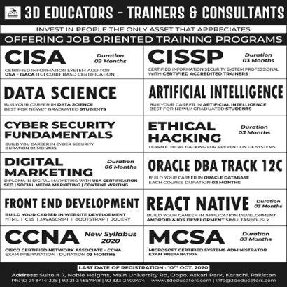Offering Job Oriented Training Program – 3D Educators