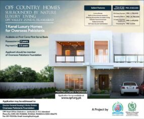 OPF Country Homes Zone V Islamabad.1 Kanal Homes For Overseas Pakistanis