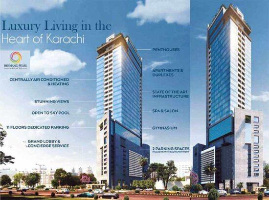 Hoshang Pearl Tower Karachi.Five Star Apartments & Duplex Penthouses