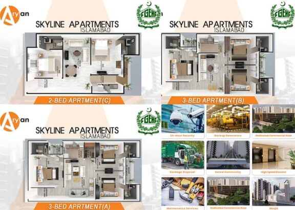 Skyline-Apartments-Islamabad.2,-3-Rooms-Exquisite-Apartments-layout-plan-and-features