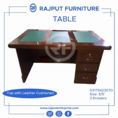 Top leather cushioned executive table