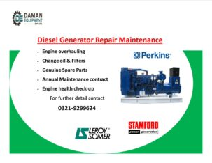 diesel Generator repairing service & maintenance all over Pakistan