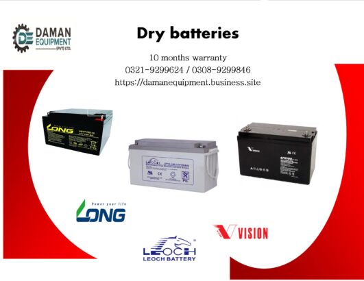 Long Dry Battery 65ah/12v with 10 months warranty delivery all Pakistan