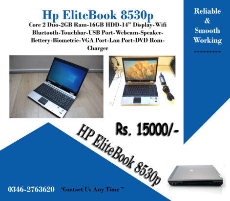 Hp Elitebook 8530p Core 2 Duo, 2Gb Ram,250GB Hard Drive,Wifi, Camera